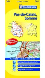 Pas de Calais Somme map - Michelin 301