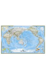 World Wall Map Pacific Centred Laminated - National Geographic