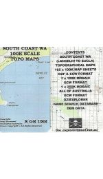 West Australia South Coast Topo Map USB