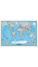 World Wall Map Europe Centred Laminated - National Geographic